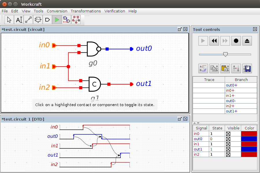Timing diagram for circuit simulation trace