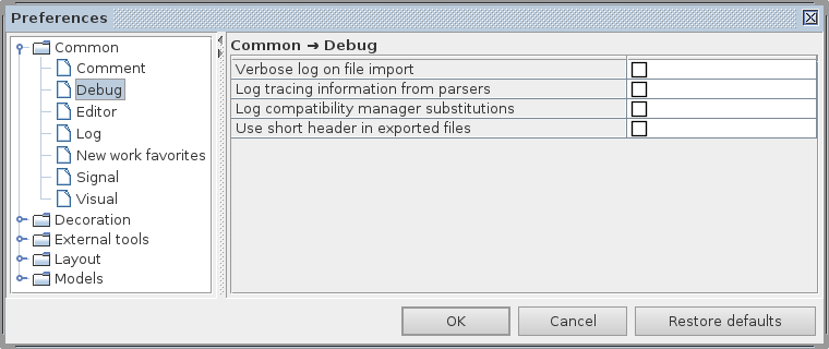 Common debug preferences