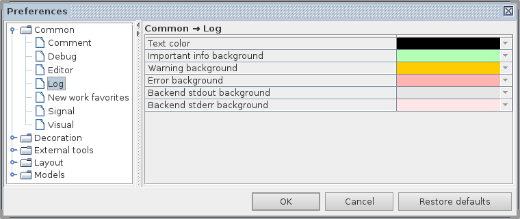 Common log preferences