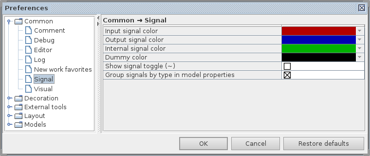 Common signal preferences